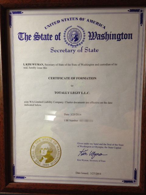 It\'s Legit! We got our certificate of formation and state license ...